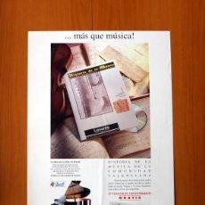 Carteles Publicitarios: LEVANTE EL MERCANTIL VALENCIANO-HISTORIA DE LA MÚSICA DE LA COMUNIDAD VALENCIANA-PÓSTER TAMAÑO 40X61. Lote 82805344