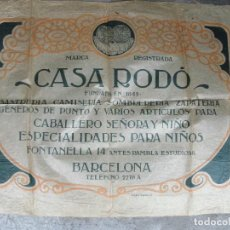 Carteles Publicitarios: POSTER - PAPEL DE ENVOLVER CASA RODO GENEROS DE PUNTO FONTANELLA,14 DE BARCELONA CABALLERO SEÑORA . Lote 83272036