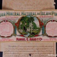 Carteles Publicitarios: MARCAS Y PATENTES REPUBLICA DE CUBA, AGUA MINERAL NATURAL DE LA ISLA DE PINOS 1912. Lote 87246052