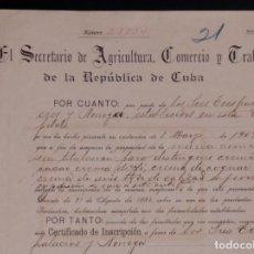 Carteles Publicitarios: MARCAS Y PATENTES REPUBLICA DE CUBA, CREMA DE CACAO, CREMA DE CAFE, CREMA DE ANIS... 1909. Lote 87249128