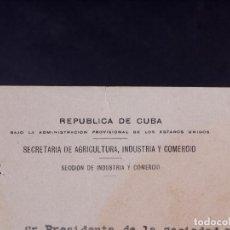 Carteles Publicitarios: MARCAS Y PATENTES REPUBLICA DE CUBA, GINEBRA LA AFRICANA, 1908. Lote 87263488