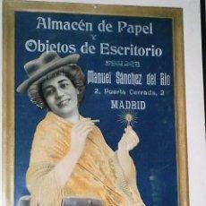 Carteles Publicitarios: BONITO CARTEL ALMACEN DE PAPEL Y OBJETOS DE ESCRITORIO -MANUEL SANCHEZ DEL RIO MADRID 47X33 CTMS. Lote 87442576