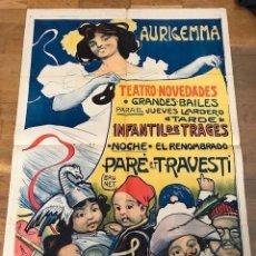 Carteles Publicitarios: ANTIGUO CARTEL POSTER AURIGEMMA TEATRO NOVEDADES POR BRUNET 1902. Lote 92281770