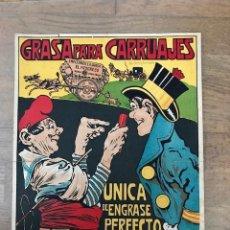 Carteles Publicitarios: RARISIMO ANTIGUO ORIGINAL CARTEL POSTER GRASA PARA CARRUAJES POR EL ARTISTA L BRUNET 1900. Lote 92282970