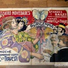 Carteles Publicitarios: RARISIMO ANTIGUO ORIGINAL CARTEL POSTER TEATRO NOVEDADES AURIGEMMA 1902 L BRUNET. Lote 92287840