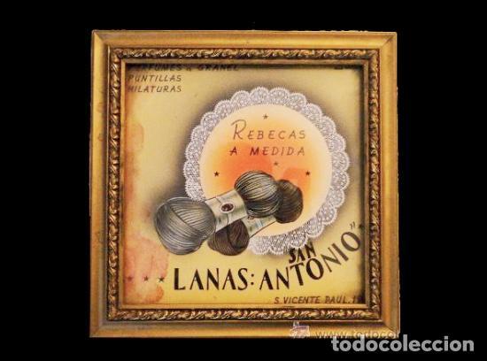 PRECIOSO Y ANTIGUO CUADRO DE LANAS SAN ANTONIO, LLENO DE ENCANTO. COMERCIO ANTIGUO. (Coleccionismo - Carteles Gran Formato - Carteles Publicitarios)
