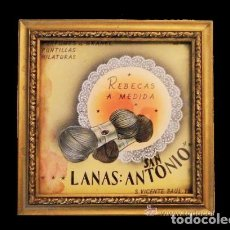 Carteles Publicitarios: PRECIOSO Y ANTIGUO CUADRO DE LANAS SAN ANTONIO, LLENO DE ENCANTO. COMERCIO ANTIGUO.. Lote 29009465