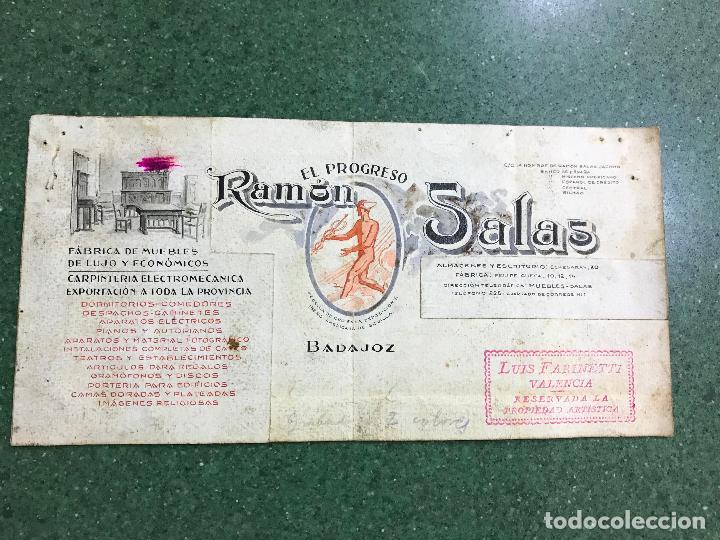 BADAJOZ - EL PROGRESO RAMON SALAS, FABRICA DE MUEBLES DE LUJO Y ECONOMICOS - ORIGINAL PINTADO A MANO (Coleccionismo - Carteles Gran Formato - Carteles Publicitarios)