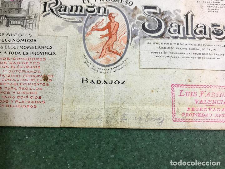 Carteles Publicitarios: BADAJOZ - EL PROGRESO RAMON SALAS, FABRICA DE MUEBLES DE LUJO Y ECONOMICOS - ORIGINAL PINTADO A MANO - Foto 2 - 94403558