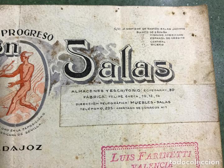 Carteles Publicitarios: BADAJOZ - EL PROGRESO RAMON SALAS, FABRICA DE MUEBLES DE LUJO Y ECONOMICOS - ORIGINAL PINTADO A MANO - Foto 4 - 94403558