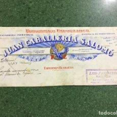 Carteles Publicitarios: TABERNES BLANQUES, VALENCIA - JUAN CABALLERIA, FRIGORIFICO Y MATADERO - ORIGINAL PINTADO A MANO. Lote 94405374