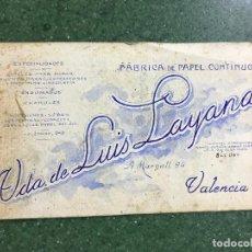 Carteles Publicitarios: VALENCIA - VIUDA DE LUIS LAYANA, FABRICA DE PAPEL CONTINUO - ORIGINAL PINTADO A MANO. Lote 94433430
