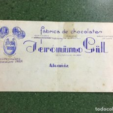 Carteles Publicitarios: ALCAÑIZ, TERUEL - FABRICA DE CHOCOLATES JERONIMO GIL - ORIGINAL PINTADO A MANO. Lote 94434566