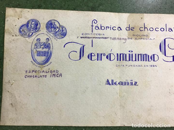 Carteles Publicitarios: ALCAÑIZ, TERUEL - FABRICA DE CHOCOLATES JERONIMO GIL - ORIGINAL PINTADO A MANO - Foto 2 - 94434566