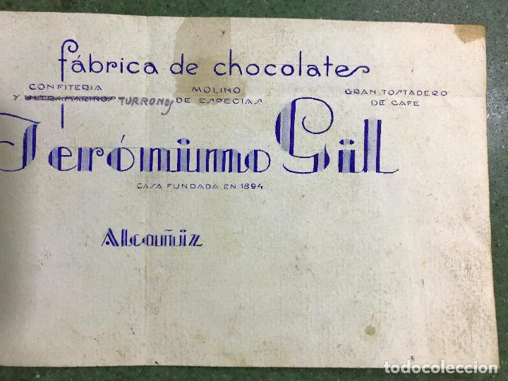 Carteles Publicitarios: ALCAÑIZ, TERUEL - FABRICA DE CHOCOLATES JERONIMO GIL - ORIGINAL PINTADO A MANO - Foto 3 - 94434566