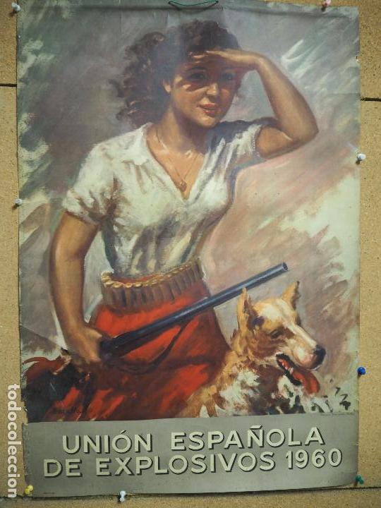 CARTEL, UNIÓN ESPAÑOLA DE EXPLOSIVOS 1960. TEMA DE CAZA, ILUSTRADO POR BATALLA. SIN CALENDARIO. (Coleccionismo - Carteles Gran Formato - Carteles Publicitarios)