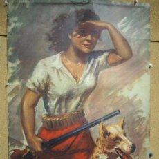 Carteles Publicitarios: CARTEL, UNIÓN ESPAÑOLA DE EXPLOSIVOS 1960. TEMA DE CAZA, ILUSTRADO POR BATALLA. SIN CALENDARIO.. Lote 95182643