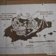 Carteles Publicitarios: CARTEL CONSERVERA ASTURIANA CAMPANAL - GIJÓN LUARCA - ASTURIAS - FABADA CAMPANAL. SÁNCHEZ MERINO.. Lote 95188923