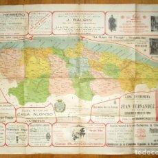 Carteles Publicitarios: GRAN MAPA DE ASTURIAS CON PUBLICIDAD COMERCIAL DE OVIEDO DE FINES DEL XIX O INICIOS DEL XX. 94 X 66.. Lote 96036603