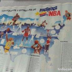 Carteles Publicitarios: PHOSKITOS POSTERS ALBUM 1990 INCOMPLETO 50 CM X 68 CM NBA LOS JUGADORES MAS CONOCIDOS. Lote 96076691