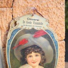 Carteles Publicitarios: CARTEL PUBLICITARIO TROQUELADO EN PAPEL DURO, CHICOREI, FRANCIA FINALES S. XIX. Lote 96850435