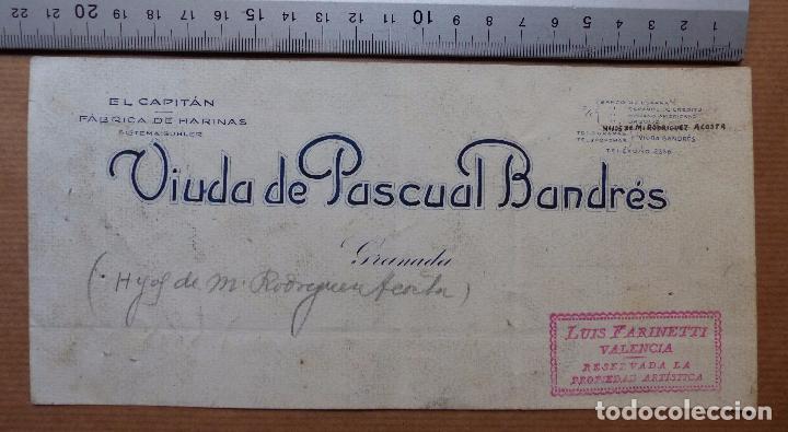 GRANADA - EL CAPITAN FABRICA DE HARINAS, VIUDA DE PASCUAL BANDRES - ORIGINAL PINTADO A MANO (Coleccionismo - Carteles Gran Formato - Carteles Publicitarios)