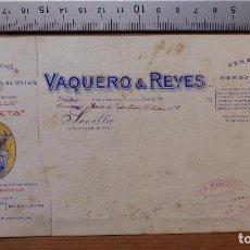 Carteles Publicitarios: SEVILLA - VAQUERO Y REYES EXPORTACION ACEITES FINOS DE OLIVA - ORIGINAL PINTADO A MANO. Lote 98663419
