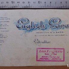 Carteles Publicitarios: GIBRALTAR - ENGLISH GARAGE - ORIGINAL PINTADO A MANO. Lote 98663639