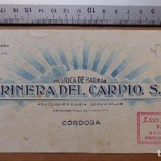 Carteles Publicitarios: CORDOBA - FABRICA DE HARINAS, HARINERA DEL CARPIO S.A. - ORIGINAL PINTADO A MANO. Lote 98663831