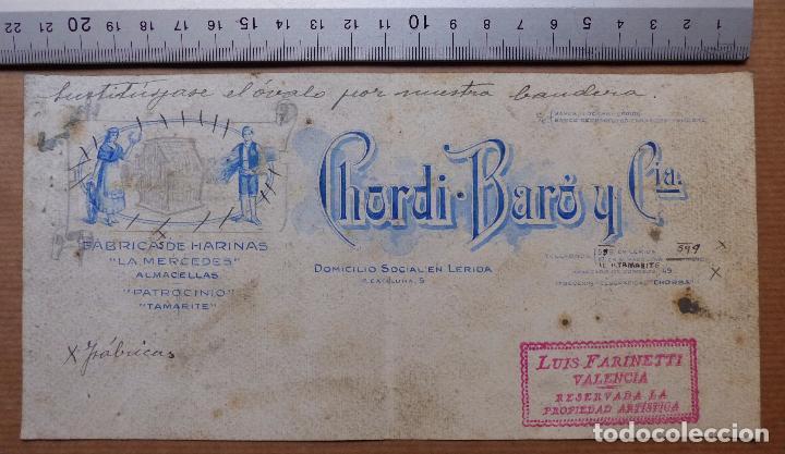 LERIDA - FABRICA DE HARINAS, CHORDI BARO Y CIA. - ORIGINAL PINTADO A MANO (Coleccionismo - Carteles Gran Formato - Carteles Publicitarios)