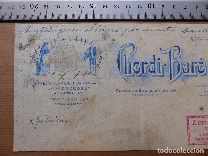 Carteles Publicitarios: LERIDA - FABRICA DE HARINAS, CHORDI BARO Y CIA. - ORIGINAL PINTADO A MANO - Foto 2 - 98664007