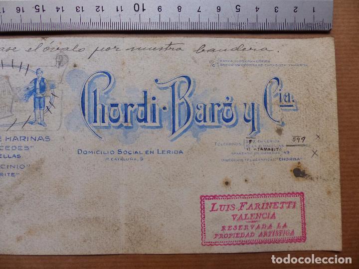 Carteles Publicitarios: LERIDA - FABRICA DE HARINAS, CHORDI BARO Y CIA. - ORIGINAL PINTADO A MANO - Foto 3 - 98664007
