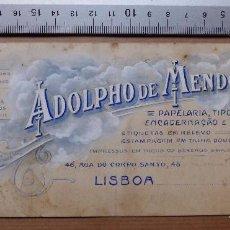 Carteles Publicitarios: LISBOA - ADOLPHO DE MENDONÇA PAPELARIA, TIPOGRAFIA - ORIGINAL PINTADO A MANO. Lote 98664187