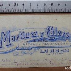 Carteles Publicitarios: LA RODA, ALBACETE - VINOS Y ALCOHOLES, MARTINEZ Y CALERO - ORIGINAL PINTADO A MANO. Lote 98692815