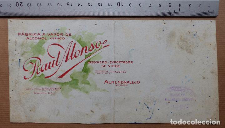 ALMENDRALEJO, BADAJOZ - COSECHERO EXPORTADOR DE VINOS, RAUL MONSO - ORIGINAL PINTADO A MANO (Coleccionismo - Carteles Gran Formato - Carteles Publicitarios)