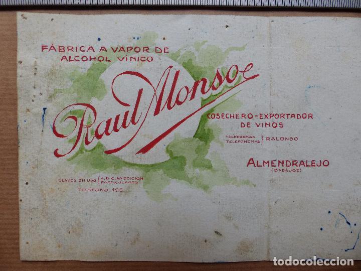 Carteles Publicitarios: ALMENDRALEJO, BADAJOZ - COSECHERO EXPORTADOR DE VINOS, RAUL MONSO - ORIGINAL PINTADO A MANO - Foto 2 - 98693271