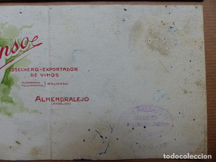 Carteles Publicitarios: ALMENDRALEJO, BADAJOZ - COSECHERO EXPORTADOR DE VINOS, RAUL MONSO - ORIGINAL PINTADO A MANO - Foto 3 - 98693271