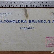 Carteles Publicitarios: ZARAGOZA - ALCOHOLERA BRUNED S.A., TARTAROS NATURALES Y DE ORUJO - ORIGINAL PINTADO A MANO. Lote 98693619