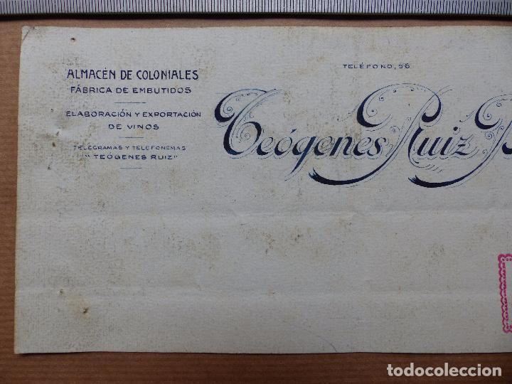 Carteles Publicitarios: ALMACEN DE COLONIALES, FABRICA DE EMBUTIDOS, VINO, TEOGENES RUIZ BUENO - ORIGINAL PINTADO A MANO - Foto 2 - 98694115