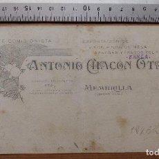 Carteles Publicitarios: MEMBRILLA, CIUDAD REAL - EXPORTACION DE VINOS, AZAFRAN, ANTONIO CHACON OTAL -ORIGINAL PINTADO A MANO. Lote 98695063