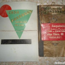 Carteles Publicitarios: LOTE CARTELES ANTIGUOS CASA ARQUERO BADAJOZ - MUY RAROS. Lote 100057247
