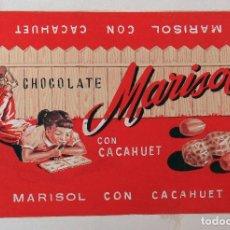 Carteles Publicitarios: ETIQUETA ORIGINAL, PINTADA A MANO, PUBLICIDAD, PINTURA, CHOCOLATE CHOCOLATES MARISOL . Lote 102719671