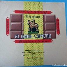 Carteles Publicitarios: ETIQUETA ORIGINAL, PINTADA A MANO, PINTURA ,PUBLICIDAD CHOCOLATES EL GRAN CAPITAN CORDOBA. Lote 102723023