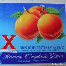 Carteles Publicitarios: CARTEL ORIGINAL, PINTADO A MANO, PINTURA ,PUBLICIDAD MELOCOTON RAMON TEMPLADO,ALGUAZAS MURCIA. Lote 102725351