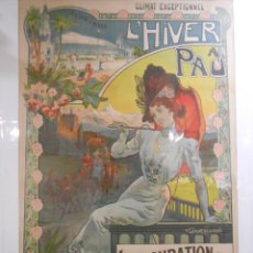 Carteles Publicitarios: CARTEL MODERNISTA FRANCÉS. ORIGINAL DE V. LORANT HEILBRONN. L'HIVER A PAU. C.1900.. Lote 103279015