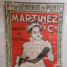 Carteles Publicitarios: CARTEL PUBLICITARIO DE Fª DE GÉNEROS DE PUNTO MARTÍNEZ Y Cª. LIT. UTRILLO & RIALP. BARCELONA C. 1900. Lote 103280655