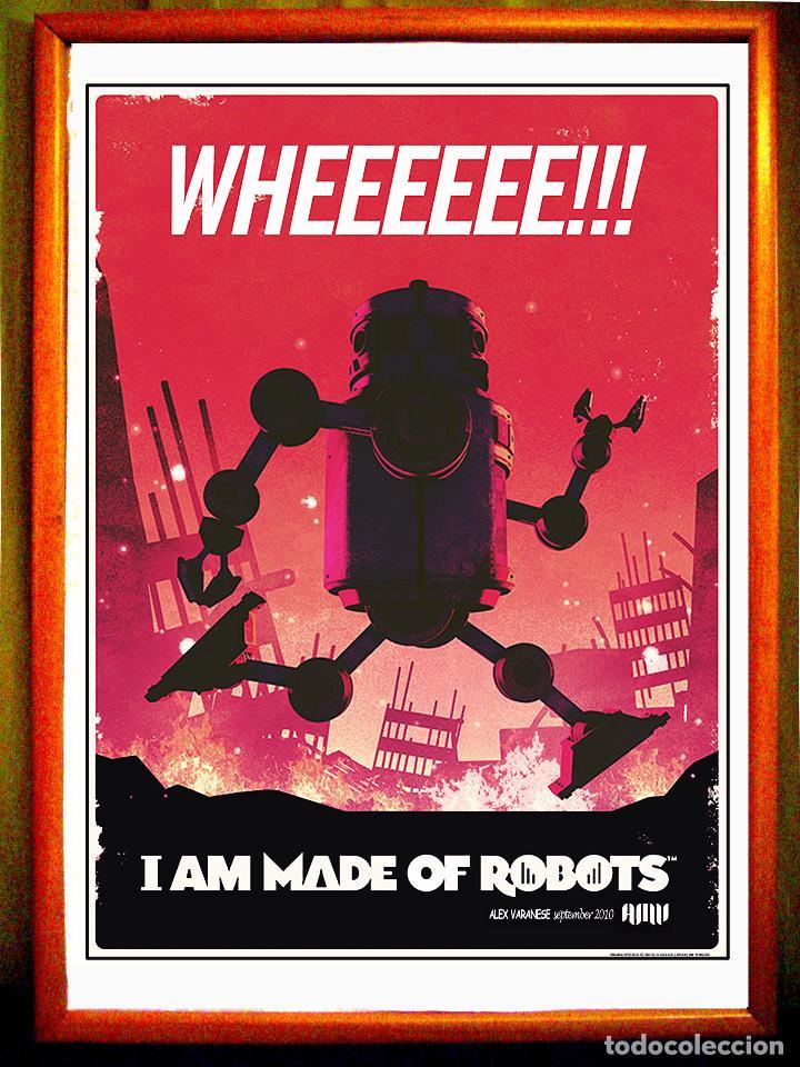 POSTER - VINTAGE ROBOT - ILUSTRATION- 1 AM MADE OF ROBOT- TAMAÑO 65 X 49 CMS (Coleccionismo - Carteles Gran Formato - Carteles Publicitarios)