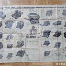 Carteles Publicitarios: ANTIGUO CARTEL PROSPECTO DE MAQUINAS DE ESCRIBIR-IBERIA.FABRICADA EN ESPAÑA.BARCELONA.. Lote 104064651
