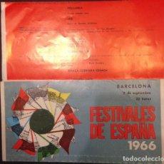 Carteles Publicitarios: PROGRAMA FESTIVALES DE ESPAÑA 1966 BARCELONA, BALLET MOISSEIEV. Lote 104264919