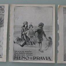 Cartazes Publicitários: PRECIOSOS 3 ANTIGUOS ANUNCIOS PUBLICITARIOS JABON HENO DE PRAVIA NIÑOS – AÑO 1915 - SON ORIGINALES. Lote 104286083